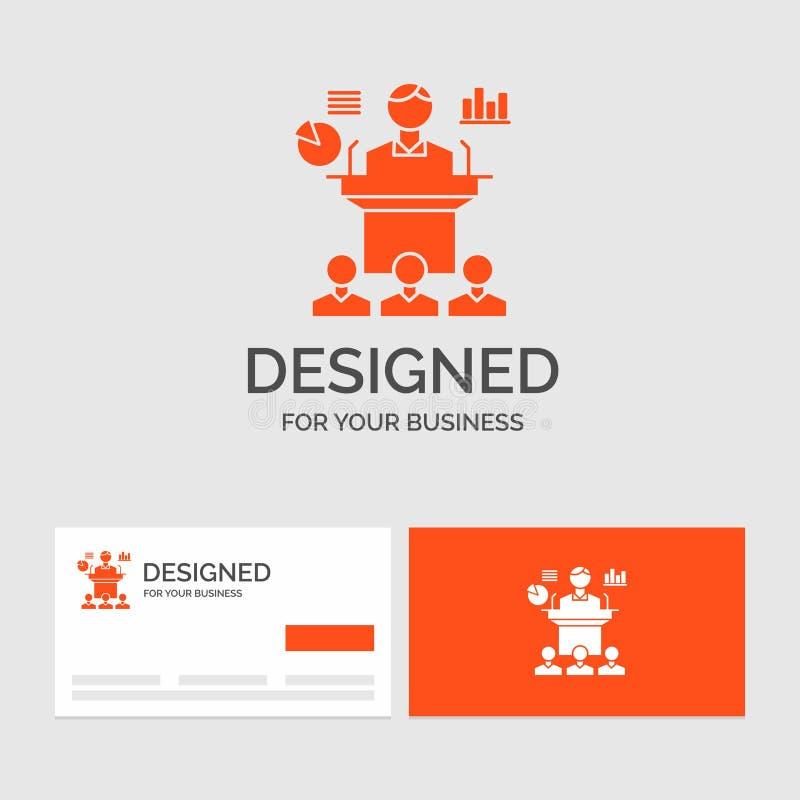 Calibre de logo d'affaires pour des affaires, conférence, convention, présentation, séminaire Cartes de visite oranges avec le ca illustration libre de droits