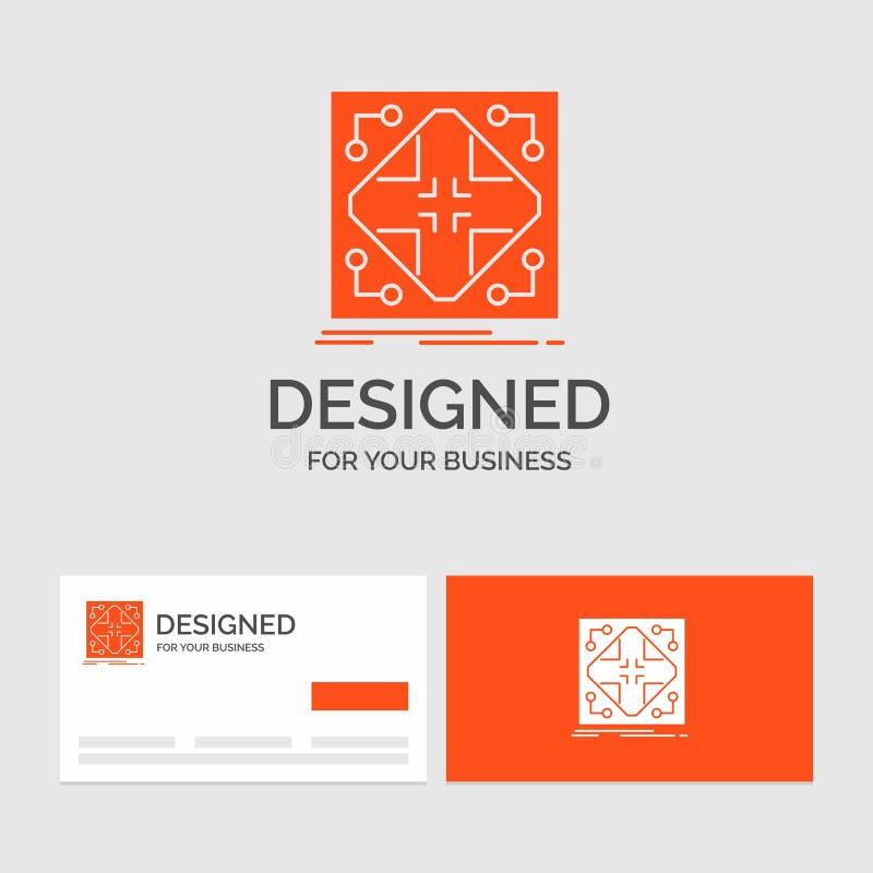 Calibre de logo d'affaires pour des donn?es, infrastructure, r?seau, matrice, grille Cartes de visite oranges avec le calibre de  illustration stock