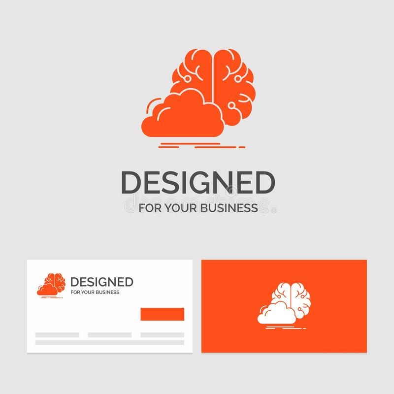 Calibre de logo d'affaires pour faire un brainstorm, cr?atif, id?e, innovation, inspiration Cartes de visite oranges avec le cali illustration stock