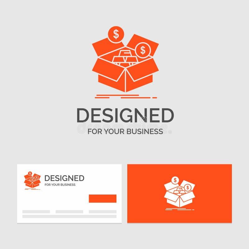 Calibre de logo d'affaires pour l'épargne, boîte, budget, argent, croissance Cartes de visite oranges avec le calibre de logo de  illustration libre de droits