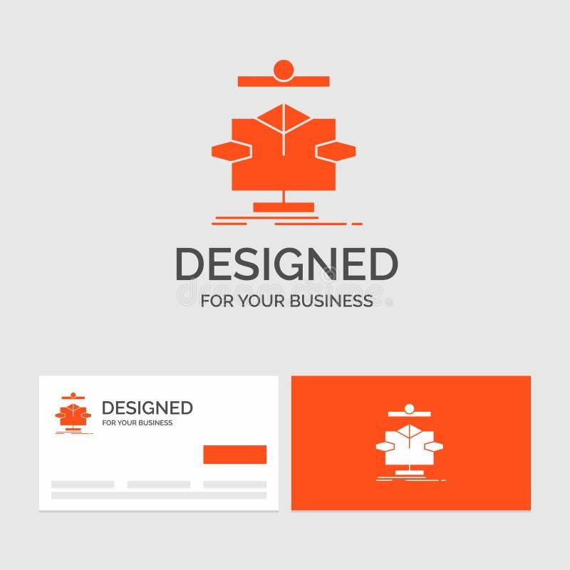 Calibre de logo d'affaires pour l'algorithme, diagramme, données, diagramme, écoulement Cartes de visite oranges avec le calibre  illustration libre de droits