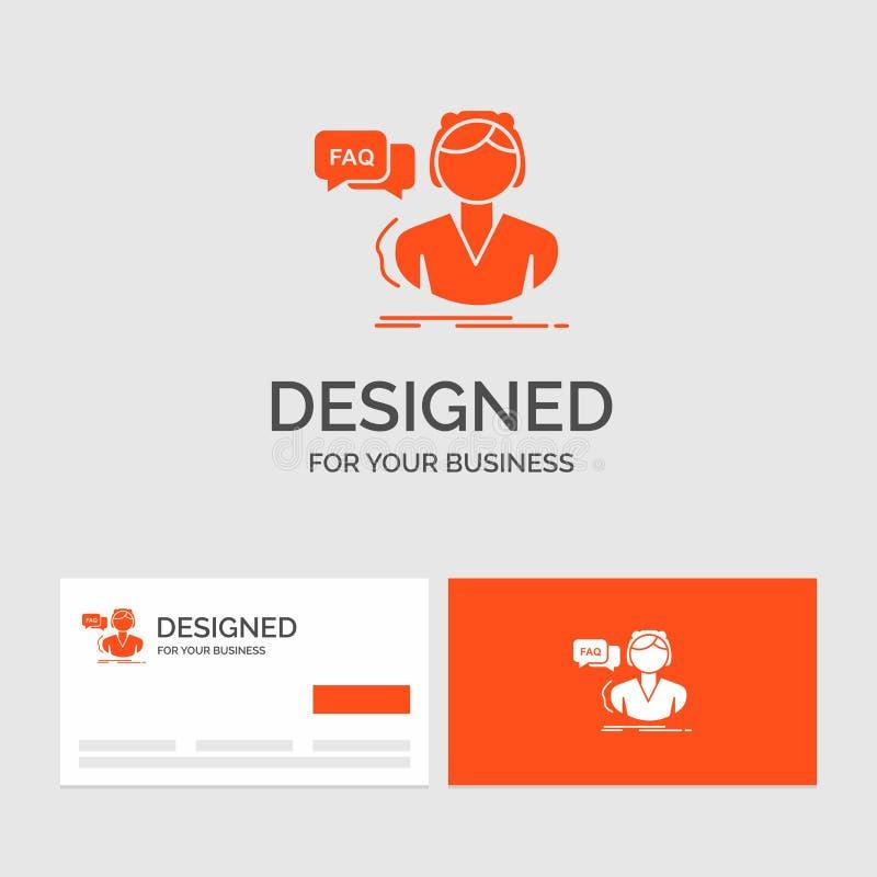 Calibre de logo d'affaires pour le FAQ, aide, appel, consultation, aide Cartes de visite oranges avec le calibre de logo de marqu illustration stock