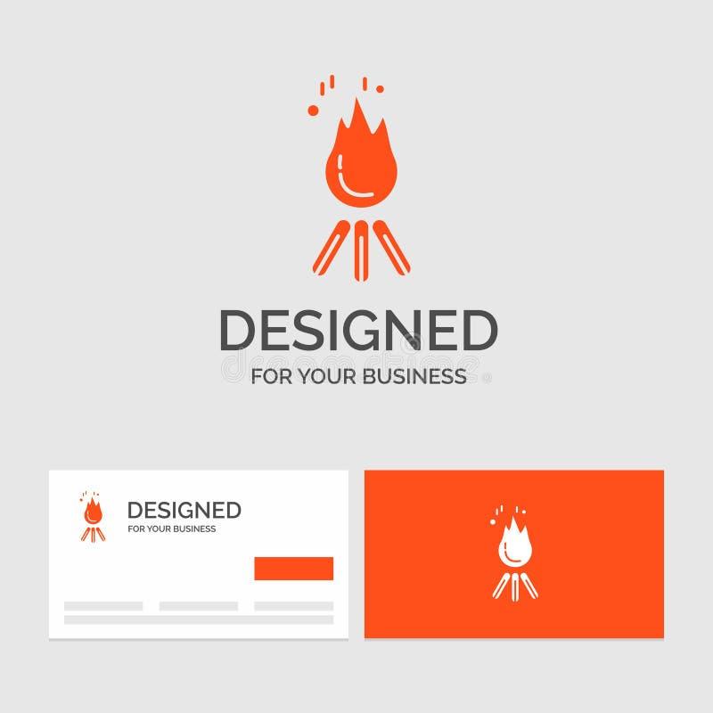 Calibre de logo d'affaires pour le feu, flamme, feu, camping, camp Cartes de visite oranges avec le calibre de logo de marque illustration stock