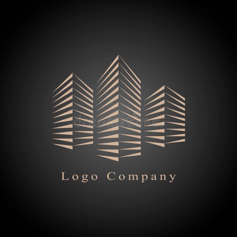 Calibre de logo d'entreprise immobilière, bâtiment, aménagement immobilier, et logo de construction illustration stock