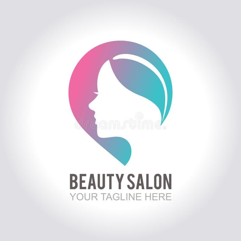 Calibre de logo d'icône de salon de beauté avec la conception colorée de silhouette de femme d'isolement sur le fond blanc illustration de vecteur