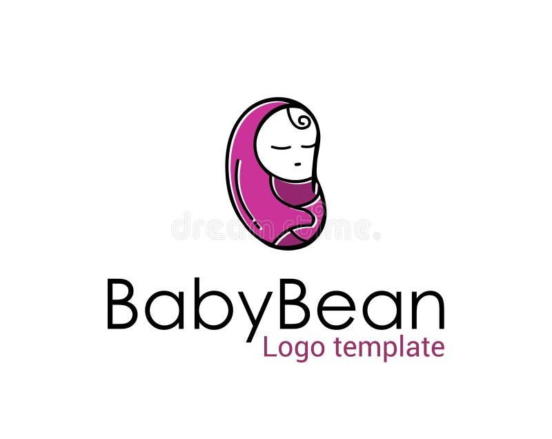 Calibre de logo d'illustration de haricot de bébé de sommeil avec le dossier de vecteur d'ENV illustration stock