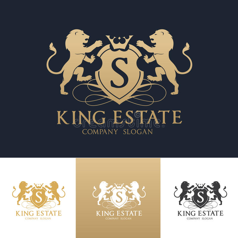 Calibre de logo d'immobiliers de lion de roi photographie stock