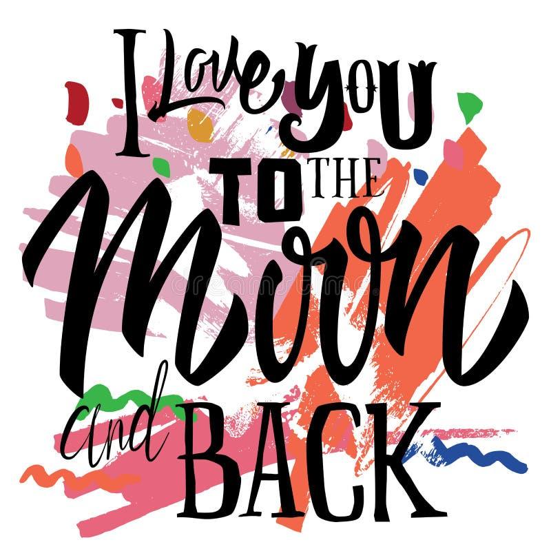 Calibre de logo d'impression de T-shirt Je t'aime à la lune et au dos illustration libre de droits