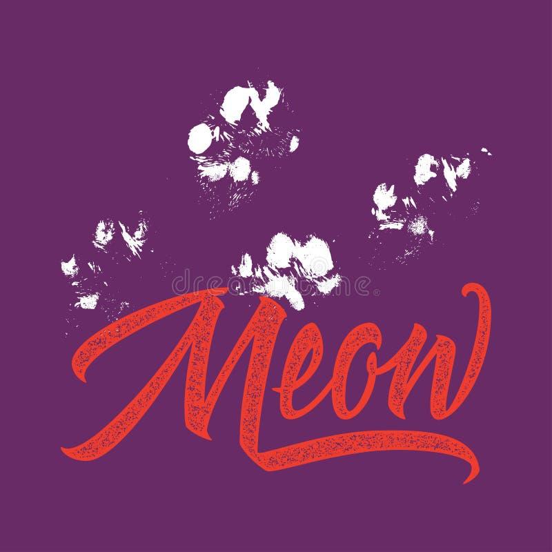 Calibre de logo d'impression de T-shirt meow illustration stock