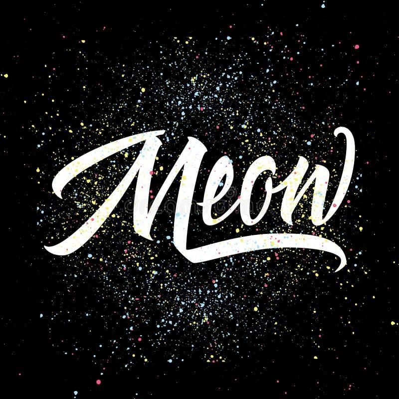 Calibre de logo d'impression de T-shirt meow Calligraphie tirée par la main illustration stock