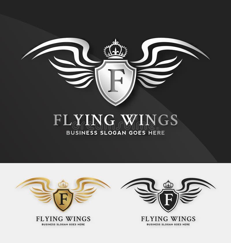 Calibre de logo de bouclier et d'ailes illustration stock