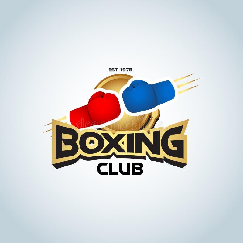 Calibre de logo de boxe Couleur d'or Deux gants de boxe dans des couleurs rouges et bleues Logotype de club de boxe Emblème de bo illustration de vecteur