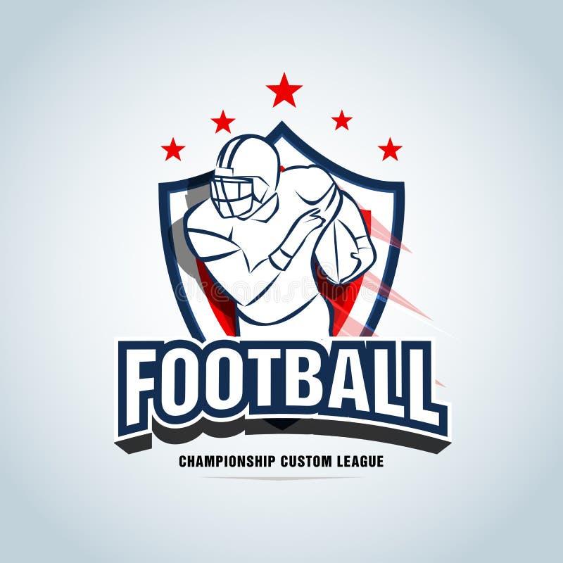 Calibre de logo de football américain, insigne, T-shirt, label, emblème Version rouge et bleu-foncé de couleur illustration stock