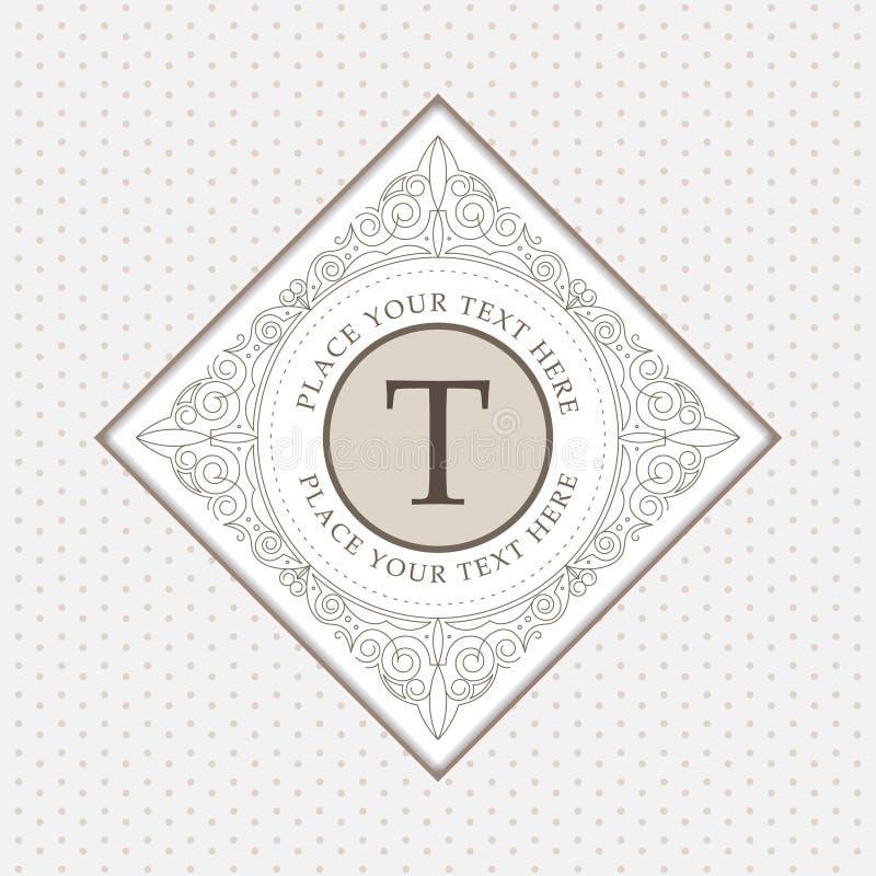 Calibre de logo de monogramme avec des flourishes illustration de vecteur