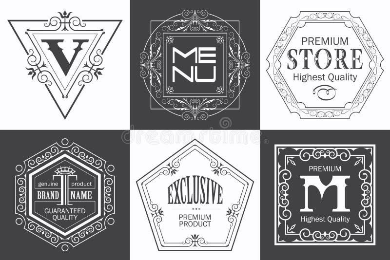 Calibre de logo de monogramme avec les éléments élégants calligraphiques d'ornement de flourishes illustration de vecteur