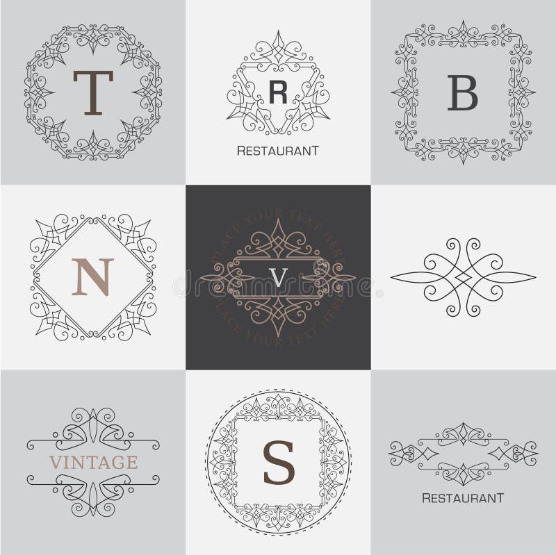 Calibre de logo de monogramme avec les éléments élégants calligraphiques d'ornement de flourishes illustration libre de droits