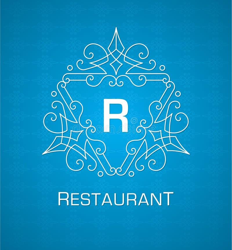 Calibre de logo de monogramme avec les éléments élégants calligraphiques d'ornement de flourishes sur le fond bleu illustration stock