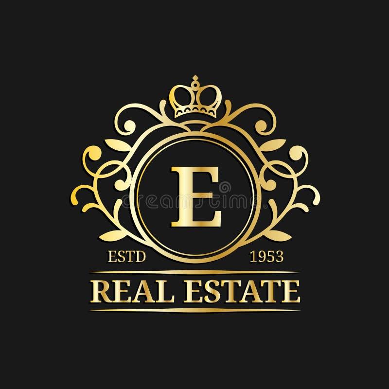 Calibre de logo de monogramme d'immobiliers de vecteur Conception de lettre de luxe Caractère gracieux de vintage avec l'illustra illustration stock