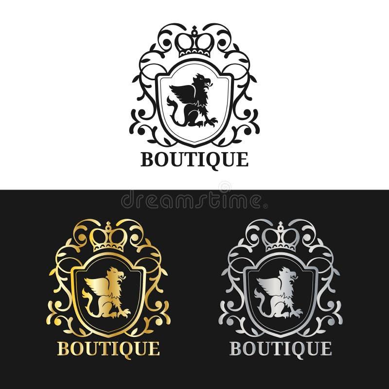 Calibre de logo de monogramme de vecteur Conception de luxe de couronne Le griffon gracieux de vintage silhouette l'illustration illustration libre de droits