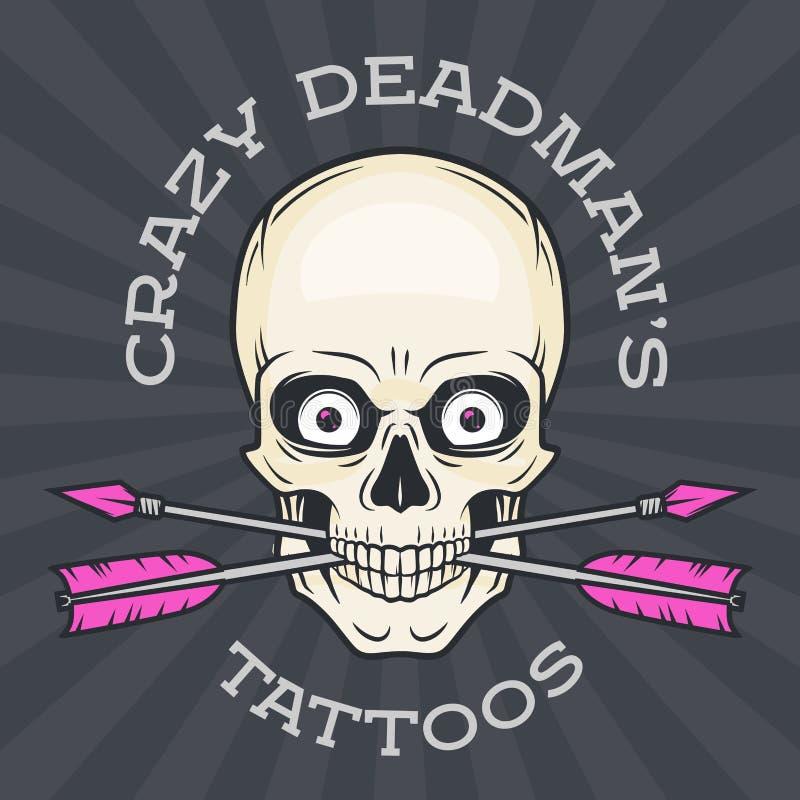 Calibre de logo de salon de tatouage Crâne de hippie illustration libre de droits