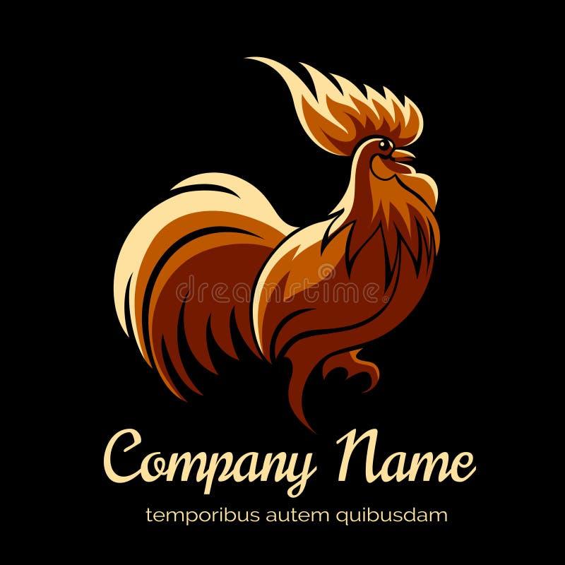Calibre de logo de société avec le coq du feu illustration libre de droits