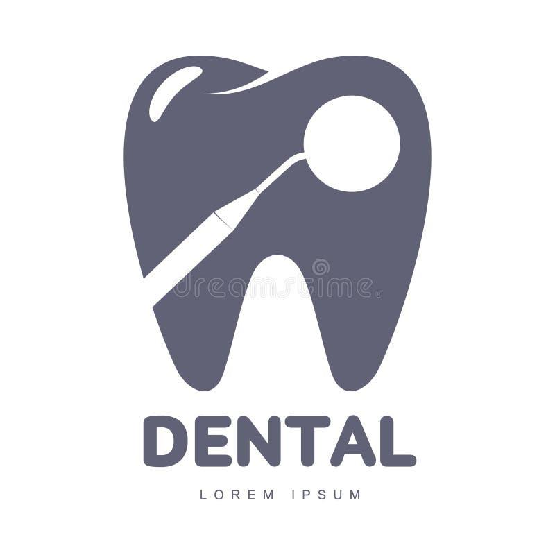 Calibre de logo de soins dentaires avec la silhouette de miroir au-dessus de la forme de dent illustration de vecteur