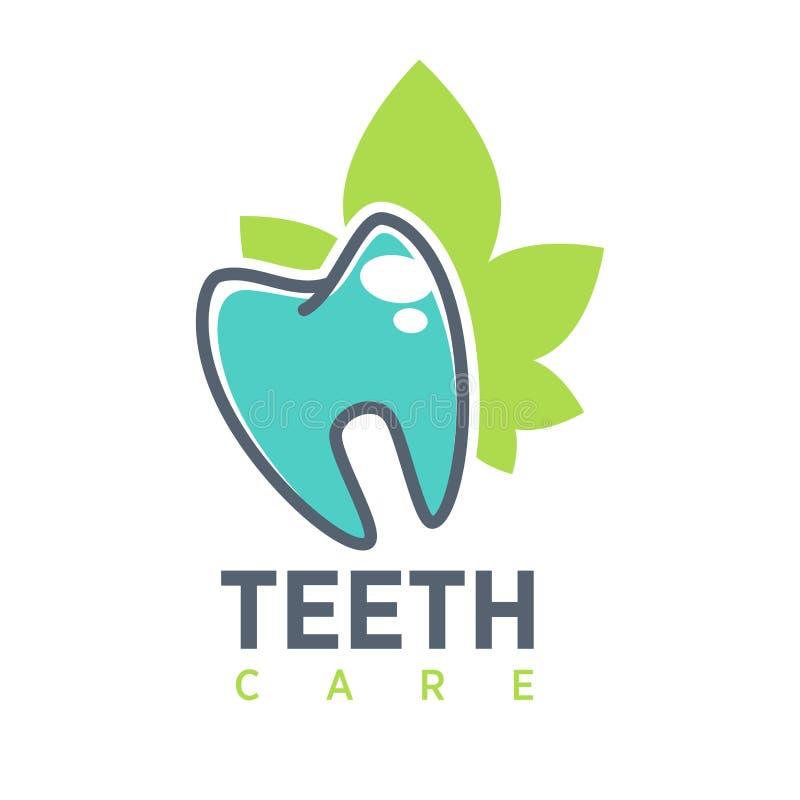 Calibre de logo de vecteur de dent pour l'art dentaire ou les produits dentaires de clinique et de santé Icône de vecteur des den illustration de vecteur