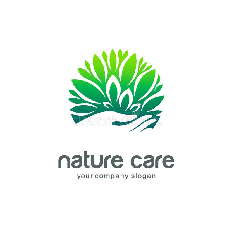 Calibre de logo de vecteur Soin de nature illustration de vecteur