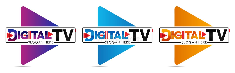 Calibre de logo de Digital TV Studio de logo ou de production cinématographique de société de médias ou milieu de studio ou en li illustration stock