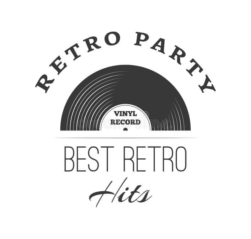 Calibre de logo de disque vinyle Rétro lettrage de partie Illustration de vecteur illustration stock