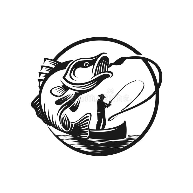 Calibre de logo de grève de pêche au bar illustration de vecteur