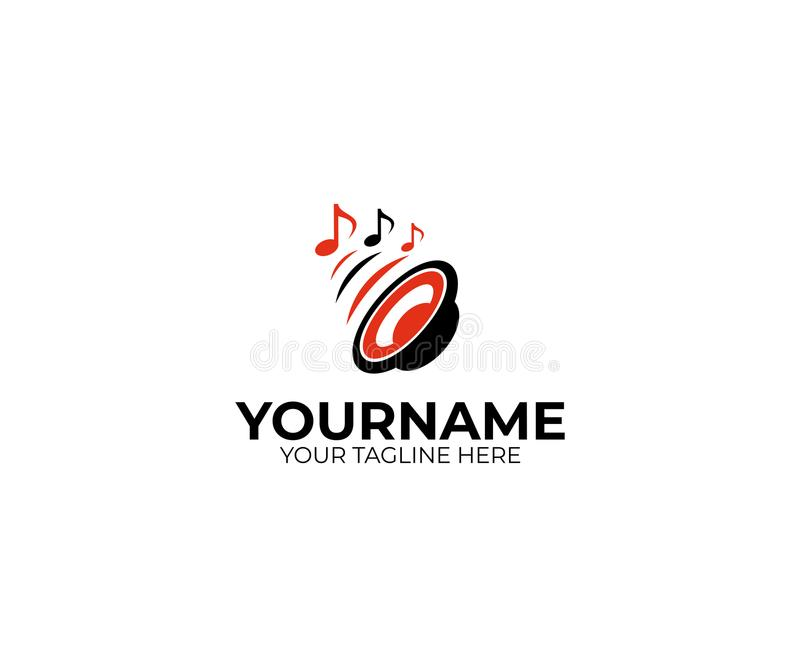 Calibre de logo de haut-parleur sain et de notes musicales Conception de vecteur de woofer illustration libre de droits