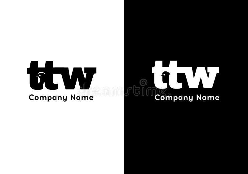 Calibre de logo de la lettre TTW Signe de la meilleure qualité d'affaires de monogramme Icône universelle de vecteur illustration libre de droits