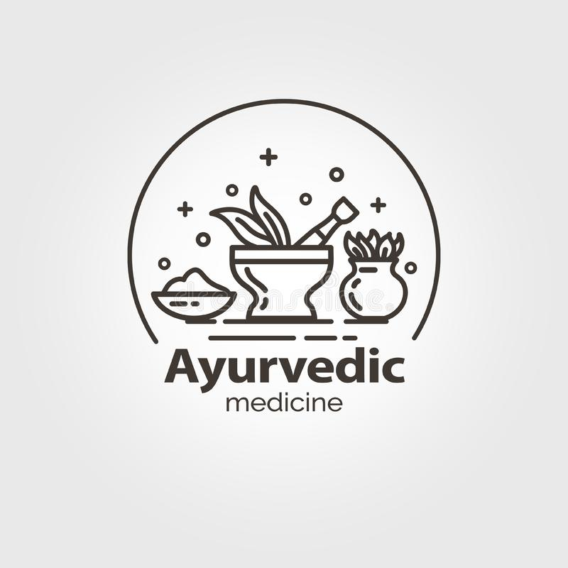 Calibre de logo de médecine d'Ayurvedic illustration libre de droits