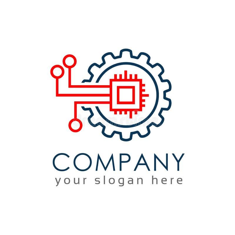 Calibre de logo de machine de Digital, conception plate illustration de vecteur