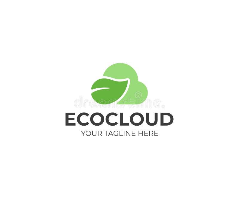 Calibre de logo de nuage d'Eco Conception verte de vecteur de nuage et de feuille illustration libre de droits