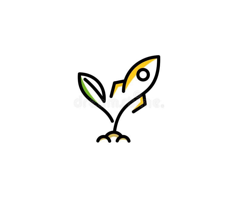 Calibre de logo de pousse et de fusée Conception de vecteur de démarrage et de réussite commerciale illustration libre de droits