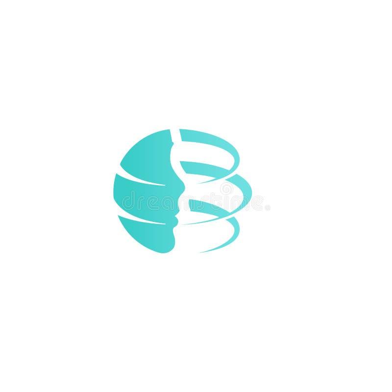 Calibre de logo de société de chirurgie plastique Conception de remontée du visage, icône de vecteur de rajeunissement de nouvell illustration stock