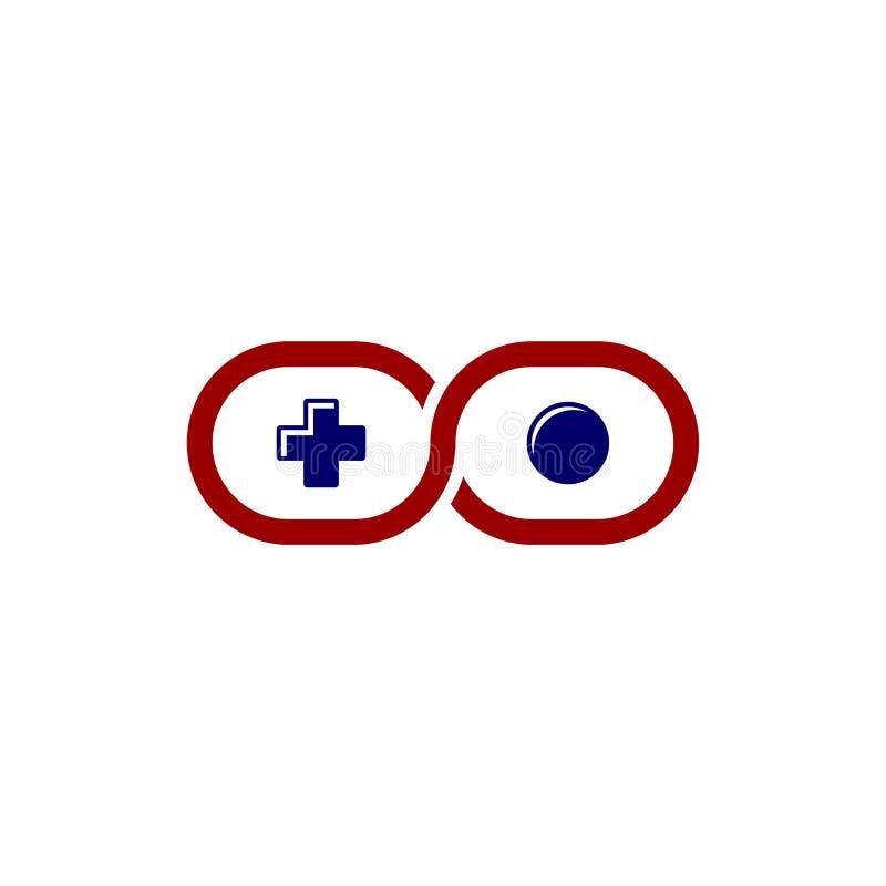 Calibre de logo de thème de console de manette de jeu vidéo d'infini illustration libre de droits