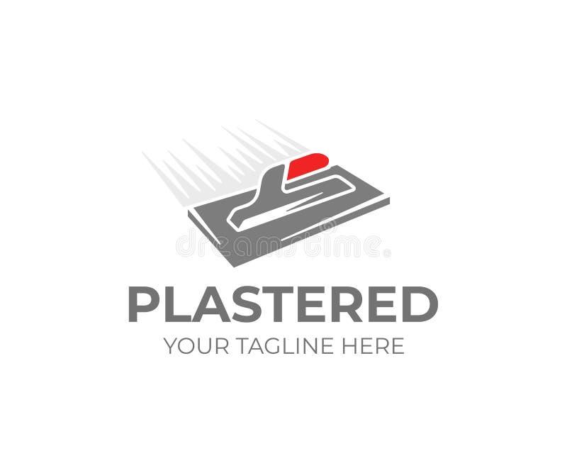 Calibre de logo de truelle de plâtrage Conception de vecteur d'outil de plâtrier illustration stock