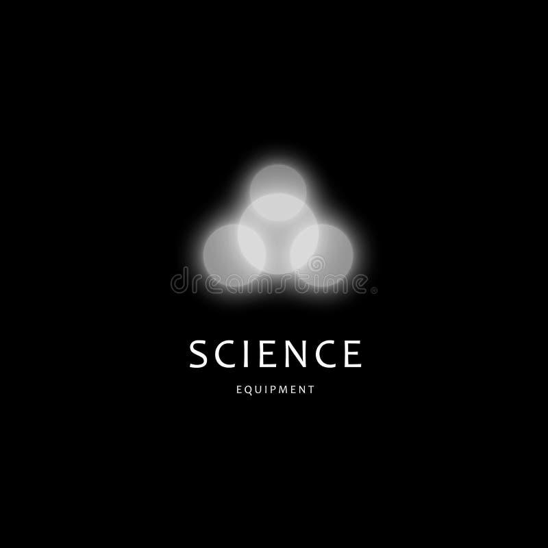Calibre de logo de vecteur d'équipement de Scince Icône abstraite de molécule, symbole d'énergie d'atome Logotype de recherches d illustration libre de droits