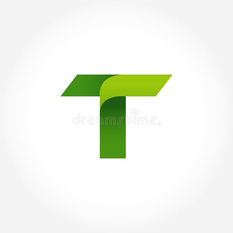 calibre de logo de vert de la lettre t conception de logotype d'alphabet illustration de vecteur