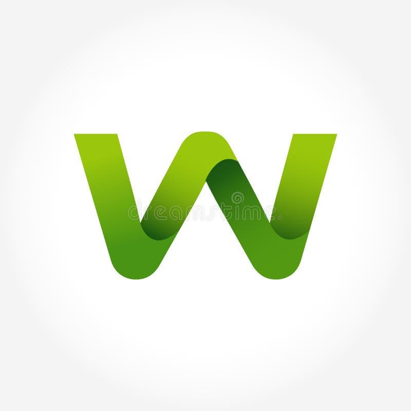 calibre de logo de vert de la lettre W conception de logotype d'alphabet illustration stock