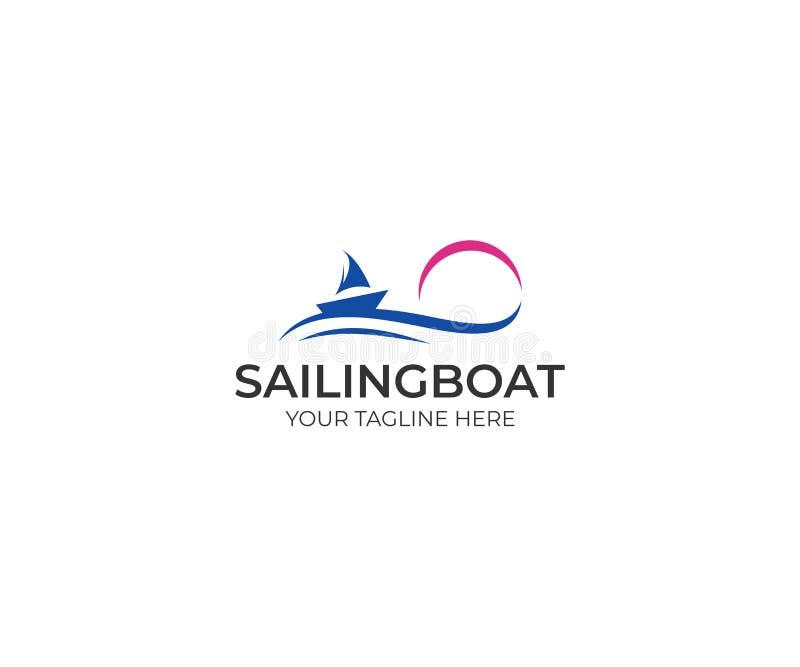 Calibre de logo de voilier Coucher du soleil et conception de vecteur de vagues illustration libre de droits