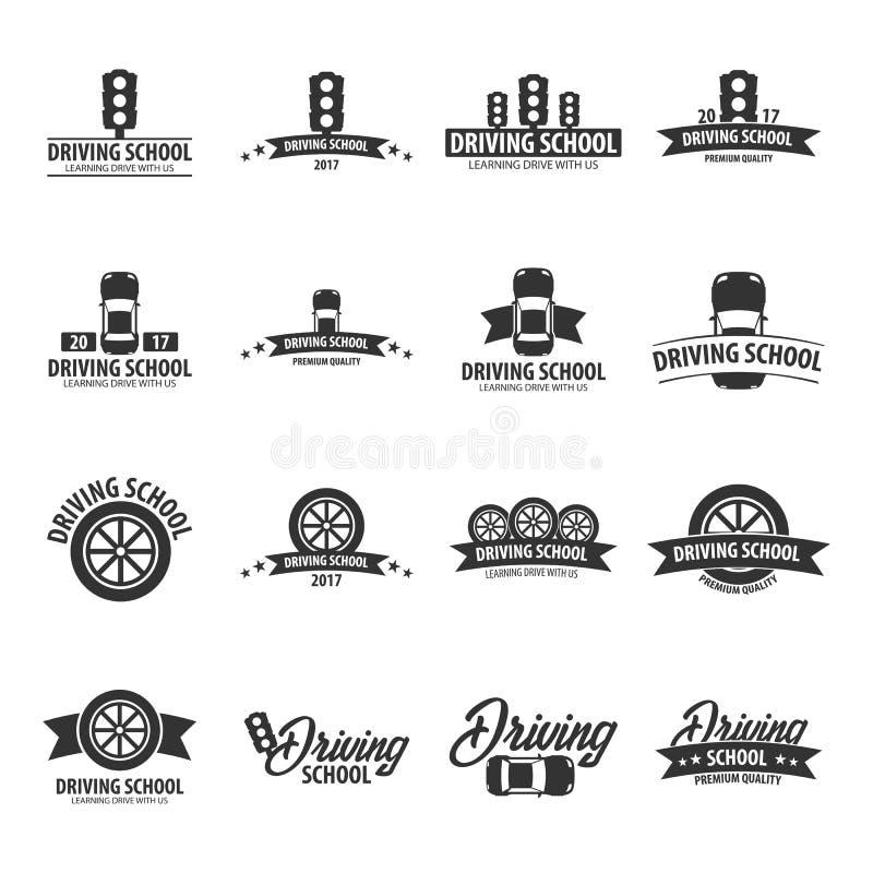 Calibre de logos et d'emblèmes d'auto-école Éducation automatique Illustration de vecteur illustration de vecteur