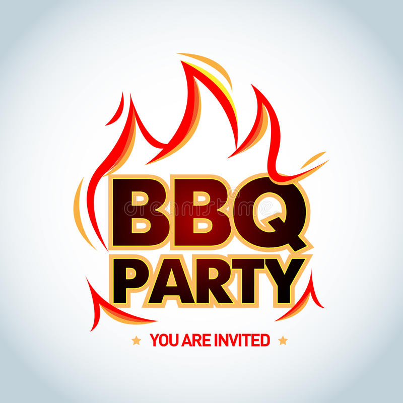 Calibre de logotype de partie de BBQ avec des flammes Logo de partie de barbecue, calibre d'invitation de partie Illustration d'i illustration libre de droits