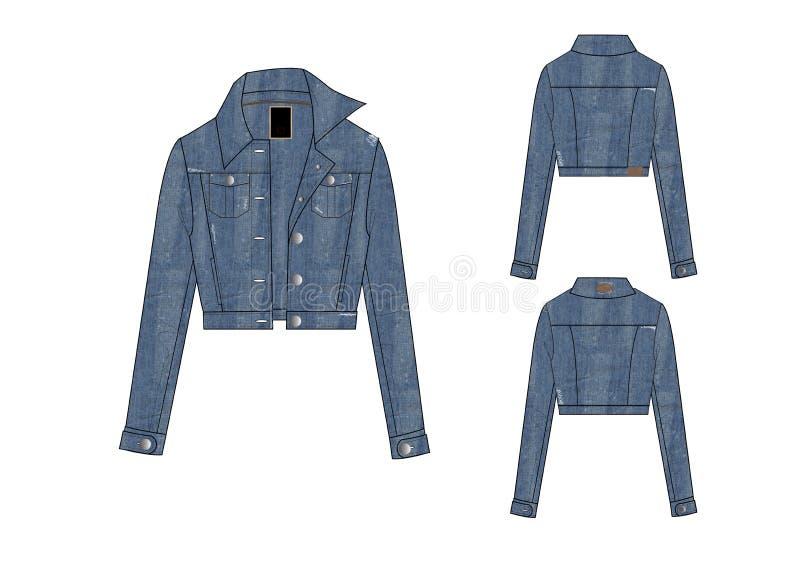 Calibre de longue conception de veste d'attache de bouton de denim de douille de filles illustration stock