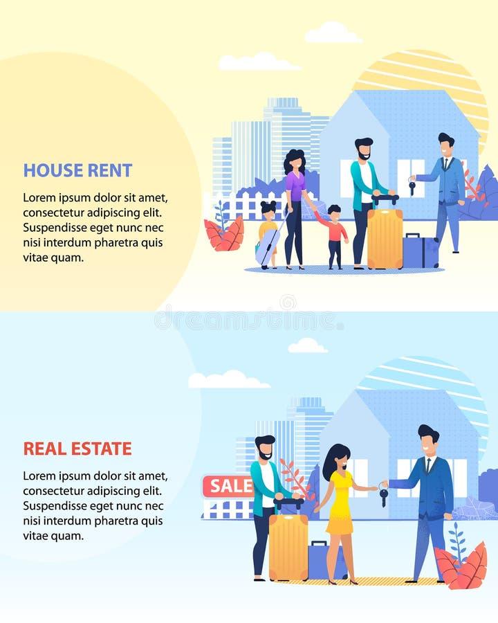 Calibre de loyer de Chambre et d'ensemble de banni?re de Real Estate illustration stock