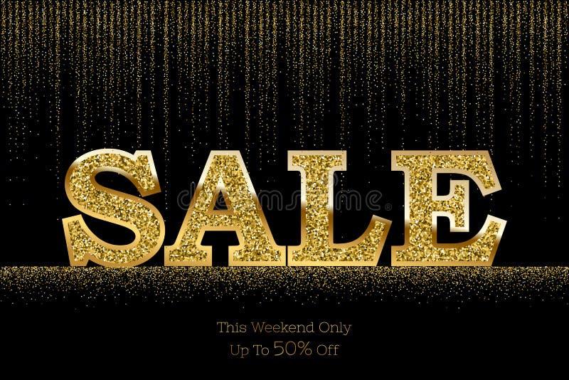 Calibre de luxe de bannière de vente Dirigez le mot d'or de vente sur le fond pluvieux de scintillement d'or illustration de vecteur