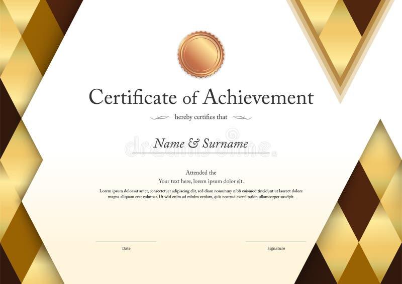 Calibre de luxe de certificat avec le cadre élégant de frontière, diplôme d illustration stock